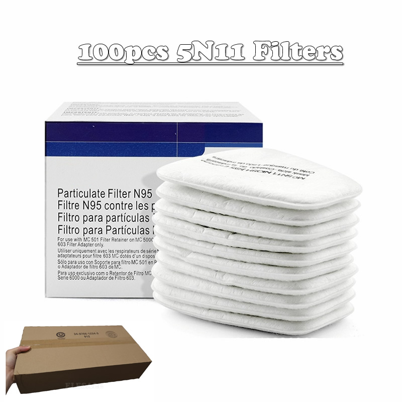 100pcs/Carton 5N11 Cotton Filters N95 Replaceable Filters Dust-Proof For 6200/7502/6800 Gas Dust Mask Spraying Accessories
