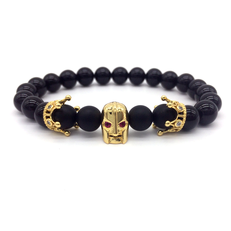 NAIQUBE 2018 Men Bracelet Red Eye Spartan Crown Bracelet Warrior Jewelry Skull Skeleton Bracelet & bangles men charm bracelets