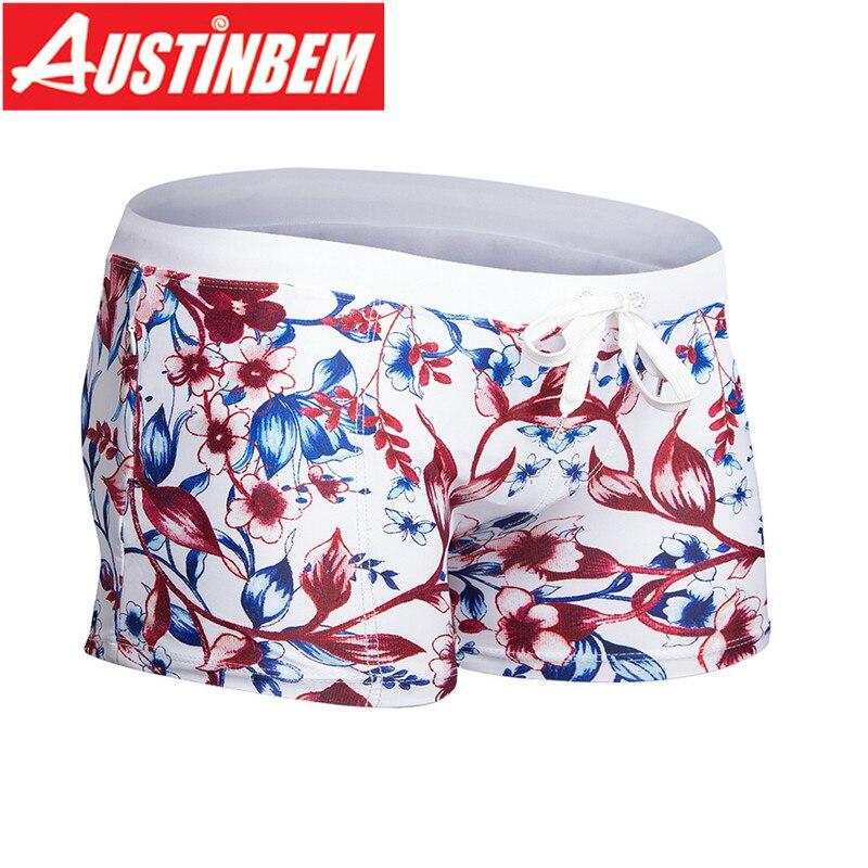 Austinbem Swimwear Men's Sportswear Short Men's Swimming Trunks for Bathing Trousers Two-pocket Creative Pocket Smelting
