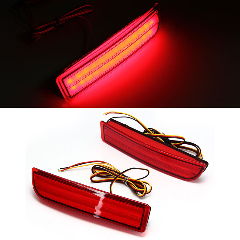 Car LED Red Lens Rear Bumper Reflector Stop Brake Light Tail Fog Parkng Lamp for Toyota 2010 RAV4/PREVIA/alphard  clear smoke red lens motorcycle red led brake stop rear fender tip tail light indicator lamp for harley breakout fxsb 2013 2016