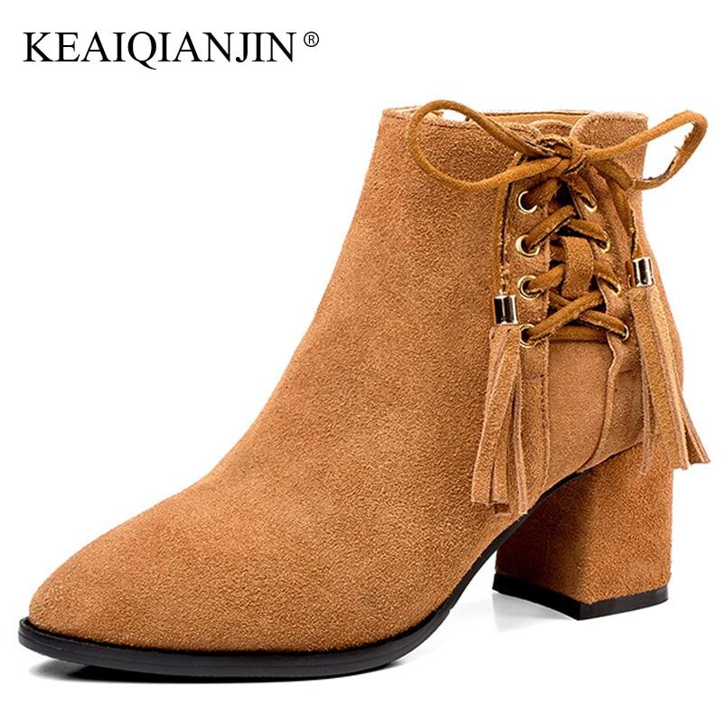 KEAIQIANJIN Woman Fringe High Heels Ankle Boots Pointed Toe Plush Autumn Winter Boots Plus Size 34 - 42 Genuine Leather Shoes поло boss hugo boss boss hugo boss bo010emyuz49