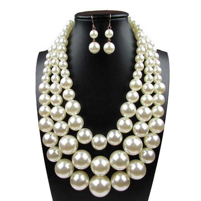Boutique en ligne fb4b2 902a2 € 8.61 21% de DESCUENTO|Collar de moda 2019 collar de perlas collares  colgantes gargantilla de moda cadena de metal grueso múltiples capas collar  de ...