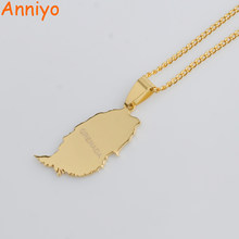 Anniyo Gold Color Small Grenada Island Map Pendant and Thin Chain Necklaces for Women Jewelry Gifts #012121(China)