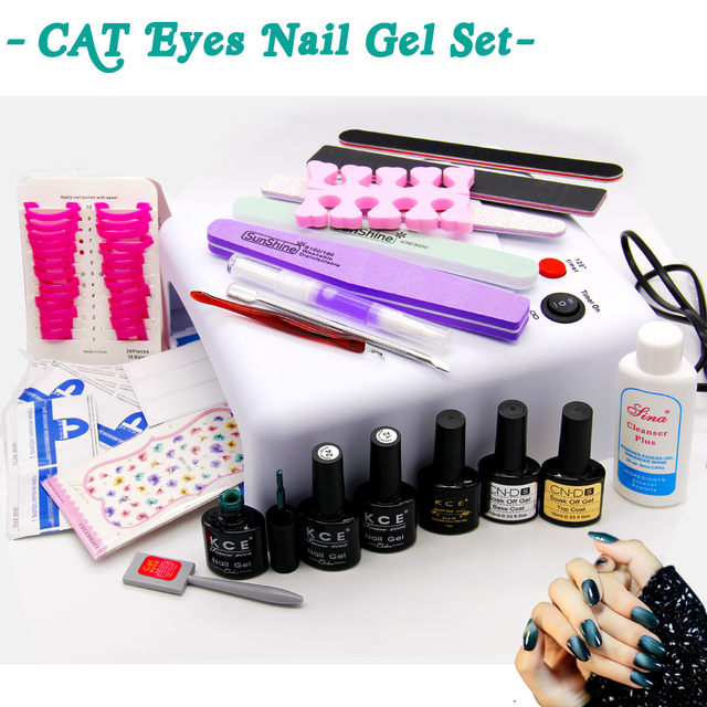 3D Cat Eyes Gel Nail Set With 36W UV Lamp +Base Gel Top Coat Polish Matt Nail Gel With Remover Practice Set File Kit