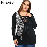 PlusMiss Plus Size 5XL 4XL Sexy Tie Up Wings Printed Top Tee Women Clothing Long Sleeve