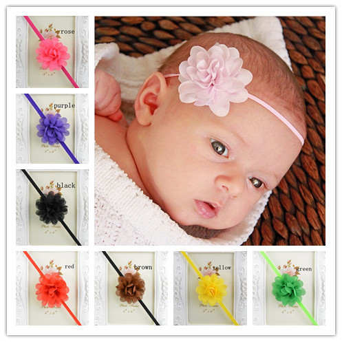 10pcs/lot 2 Mini Chiffon Flower with Thin Elastic Heaband girl Hair Accessories Photogra ...