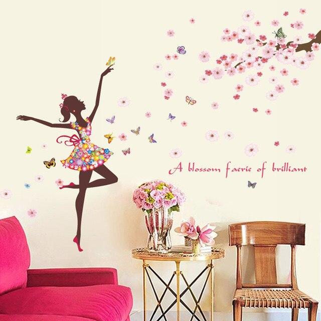Flying Flower Floral Butterflies Dancing Girl Wall Sticker Decals