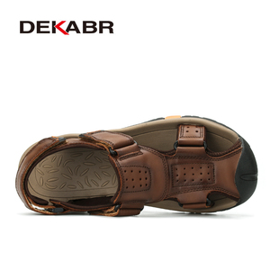 Image 2 - DEKABR Brand Men Genuine Leather Sandals Fashion Slippers Male Breathable Summer Beach Shoes Sandals Casual Men Shoes Size 38~45