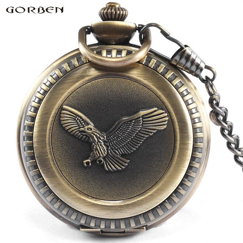 Gorben Watch Retro Quartz Fickur Eagle Steampunk Mönster Stor Storlek Män Fickur Med Fob Chain Necklace Excellent Gifts