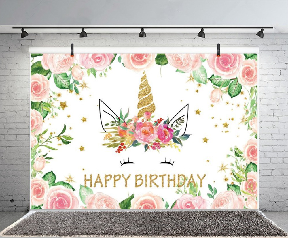 Laeacco Happy Birthday Unicorn Flower Scene Baby Children Photography Backdrops Custom Photographic Backgrounds For Photo Studio in Background from Consumer Electronics