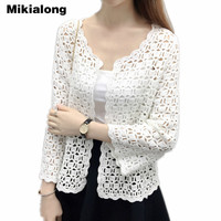Camisas Mujer 2017 Spring Summer Crochet White Lace Blouse Women Fashion Tops Sexy Hollow Out Knitted