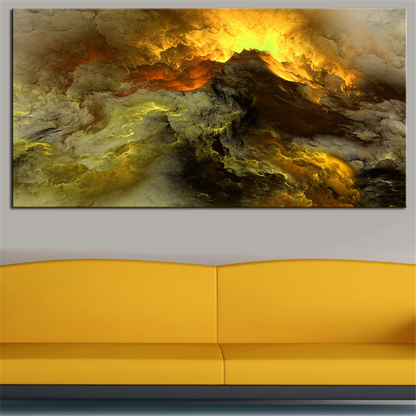 Large sizes wall art prints abstract oil painting wall for Neon yellow wall paint