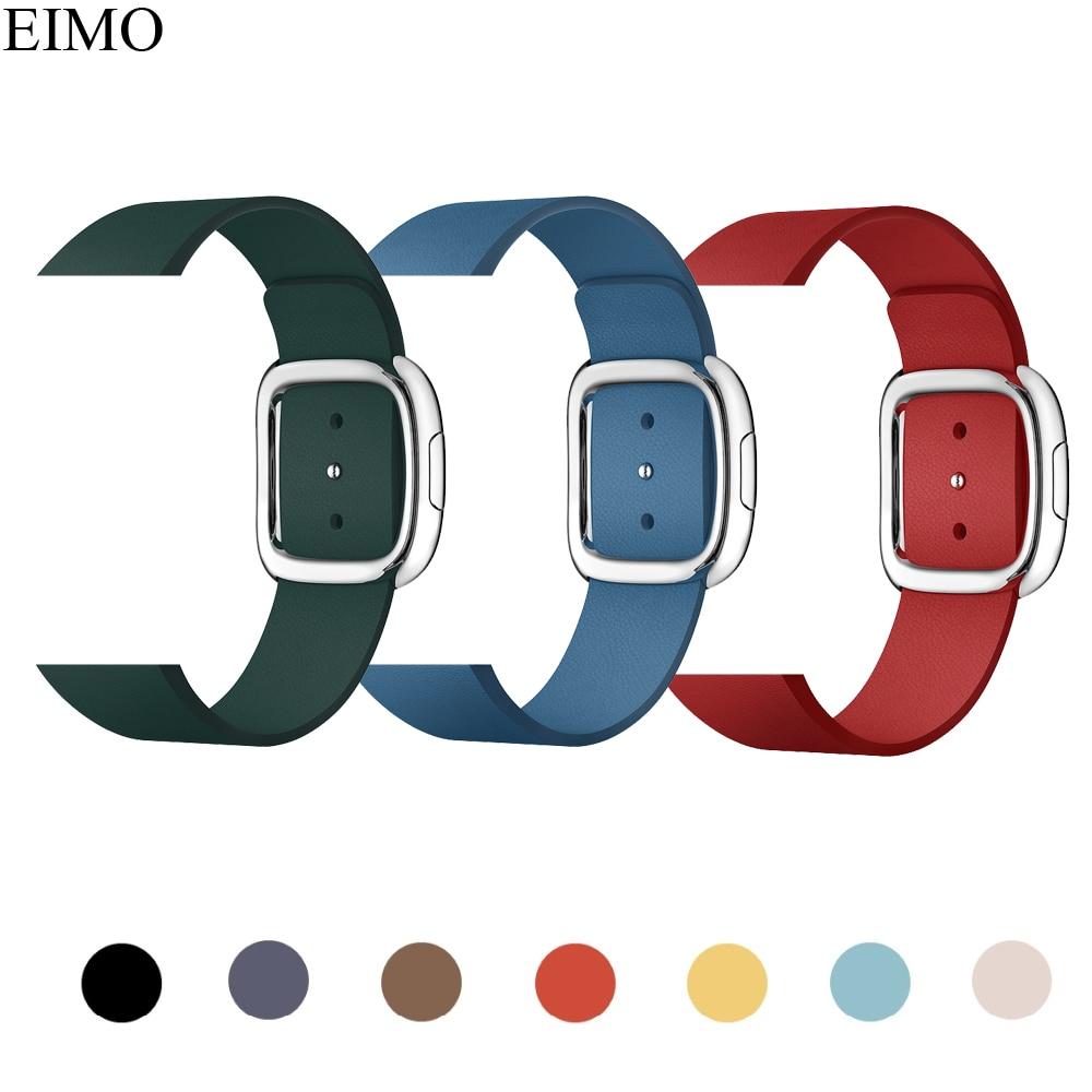 Moderna fibbia correa per apple watch 4 44mm 40mm Iwatch fascia 4 3 2 1 42mm 38mm Genuino braccialetto di cuoio atto del cinturino della cinghia