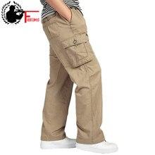 Мужские брюки большого размера, большие размеры 4xl 5xl 6xl, плюс летние мужские брюки с эластичным поясом и несколькими карманами, Длинные Мешковатые прямые брюки-карго для бега, мужские брюки