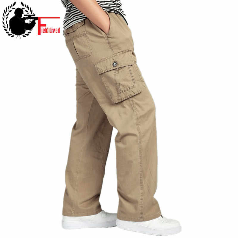 xl 4xl 5xl 6xl Plus size big Men's Cargo Pant Casual Men Elastic waist Multi-Pocket Overall Male Combat Long baggy large Trouser