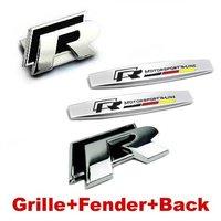 4pcs Sets R Front Grille Black Fender Side R Line Sticker Back Sticker Emblem Badge For