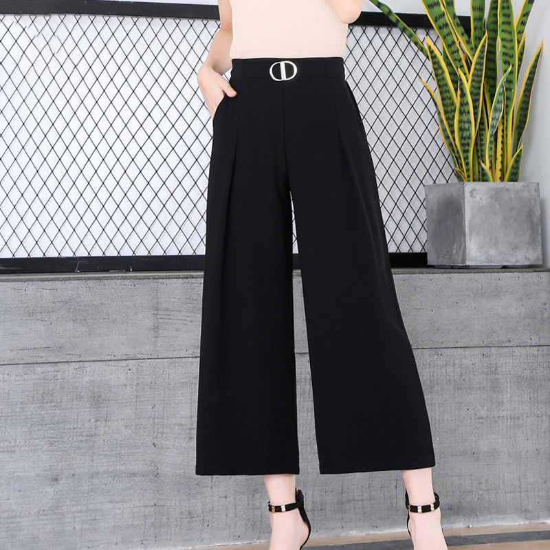 2019 Summer Women   Wide     Leg     Pants   Chiffon Ankle-Length Loose Trousers Big Size Lady Office   Pants   Black Female   Wide   Legged   Pants