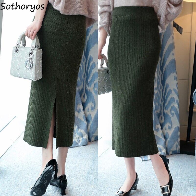 Skirts Women Thicker Plus Velvet Warm Solid Simple All-match Large Size Knitting Skirt Womens Korean Ulzzang Elegant Ladies Chic