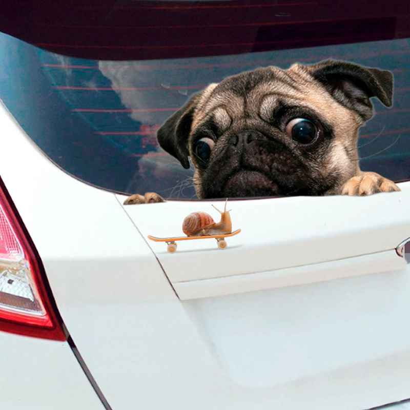 1 Pc Funny 3D Pug Dogs Looking Snail Car Sticker Cute Pet Puppy Wall Window Decal Sticker Car Styling Accessories