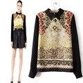Gota envío nuevos 2016 mujeres moda vintage imprimir patrón back zipper gasa camisa mujer blusa