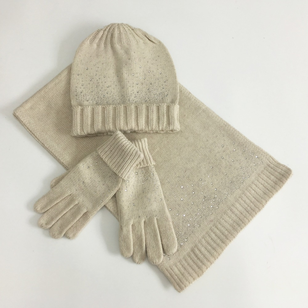 High Quality Diamond Wool Hat And Scarf Set For Women Beige Gloves Black Winter Accessories Navy Women's Warm Hat Winter Set