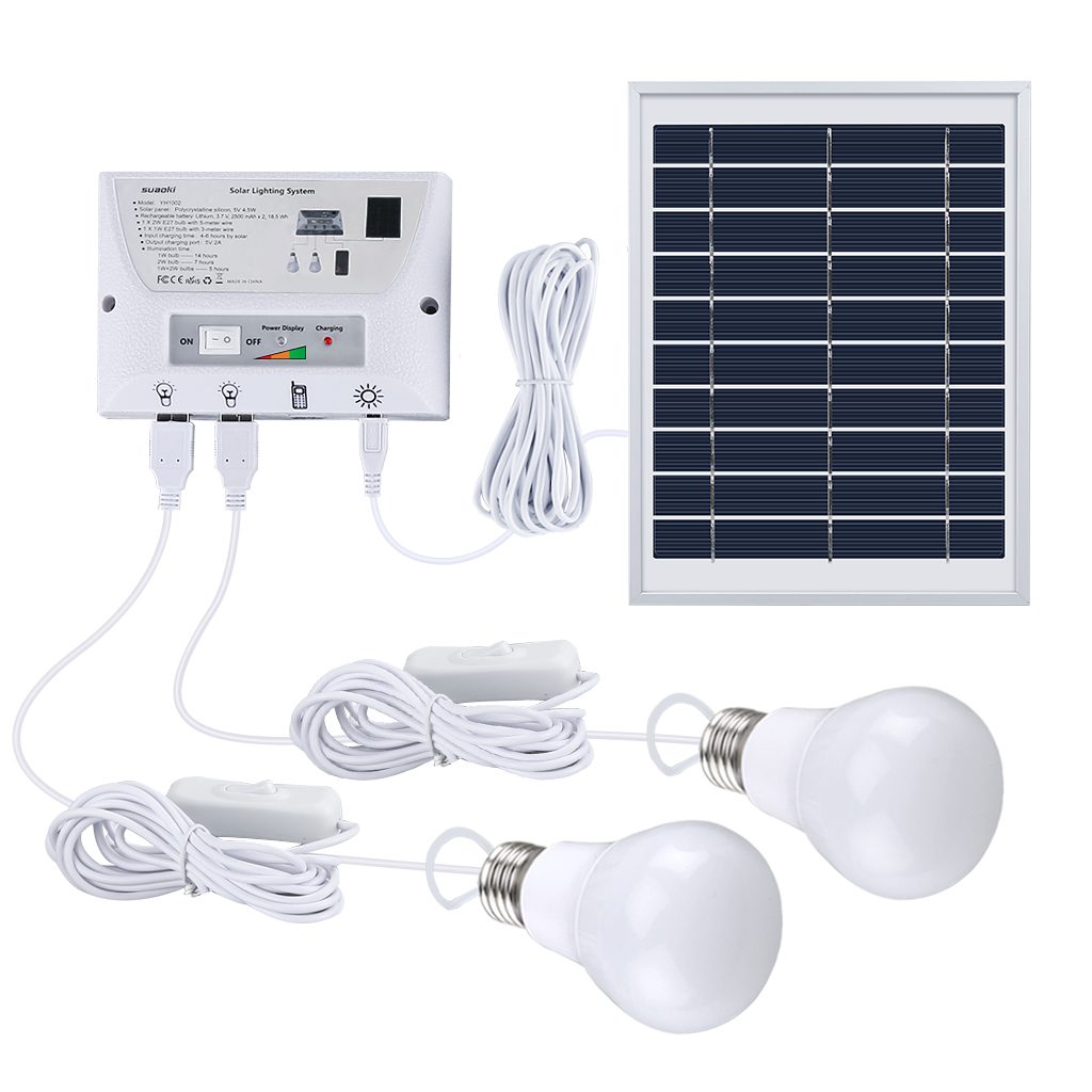 Suaoki Multi Function Solar Mobile Lighting System Portable Light Kit Home Outdoors Camping Tent Emergency Charging