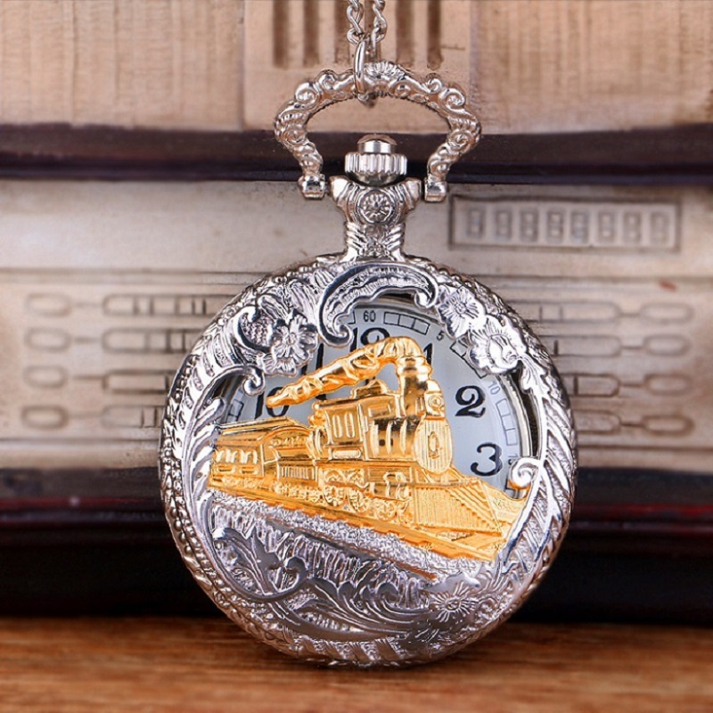 Vintage Gold Locomotive Motor Railway Train Steampunk Pocket Watches For Men Women Charming Pendant Necklace Clock Relogio Bolso