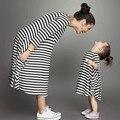 Mãe e Filha Vestidos de Moda Manga Longa Listrada Olhar Família Combinando Roupas de Algodão Mãe e Filha Vestido crianças roupas