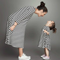 Mother Daughter Dresses Fashion Long Sleeve Striped Family Look Matching Clothes Cotton Mom and Daughter Dress kids outfits