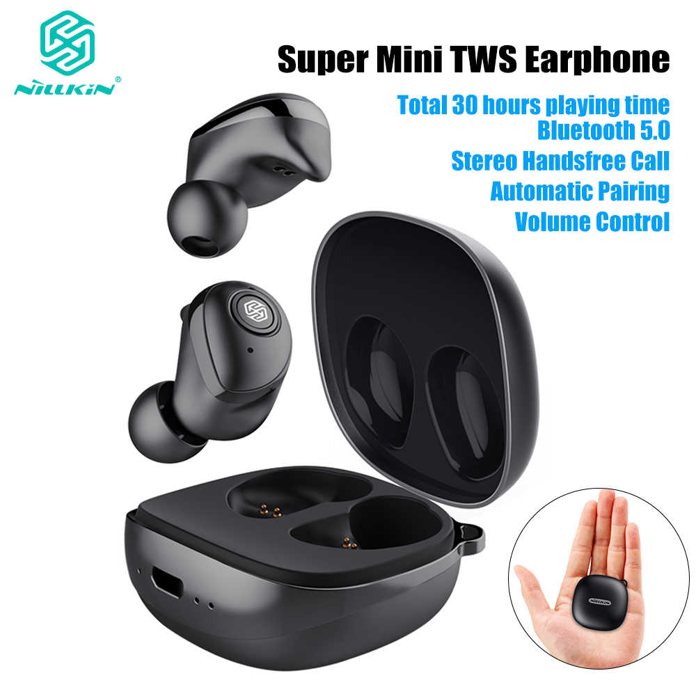 Update NILLKIN Pasangan Auto Tws Earphone Bluetooth 5.0 Benar Nirkabel IPX5 Stereo Handsfree Call Charging Case 750 MAh Kontrol Volume
