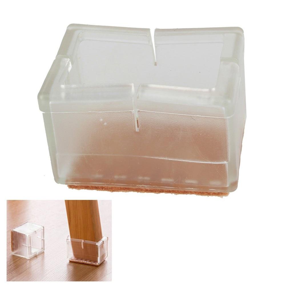 8pcs Rectangular Transparent Chair Leg Caps Feet Pads Furniture Table  Covers Wood Floor Protectors Rubber Feet