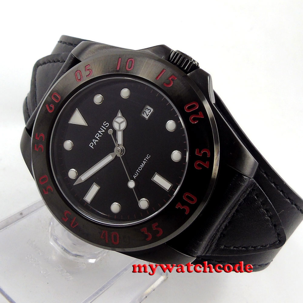 43mm Parnis black dial PVD case Sapphire Glass miyato Automatic mens Watch P391B цена и фото