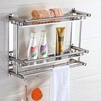Bath Towel Shelf Rack Bathroom Holder Double With Hooks Anti rust Wall Mounted Hanging Washbasin Washroom Storage Sorting