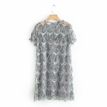 QZ901 Neue Europäische Mode Pailletten Quasten Deco Kurzarm Kleid Koreanische Chic Pailletten Kleider
