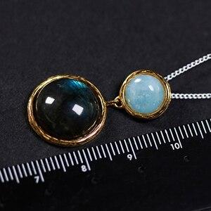 Image 4 - לוטוס כיף אמיתי 925 כסף סטרלינג טבעי אבן בעבודת יד תכשיטים מסתורי אגם עיצוב תליון ללא שרשרת לנשים