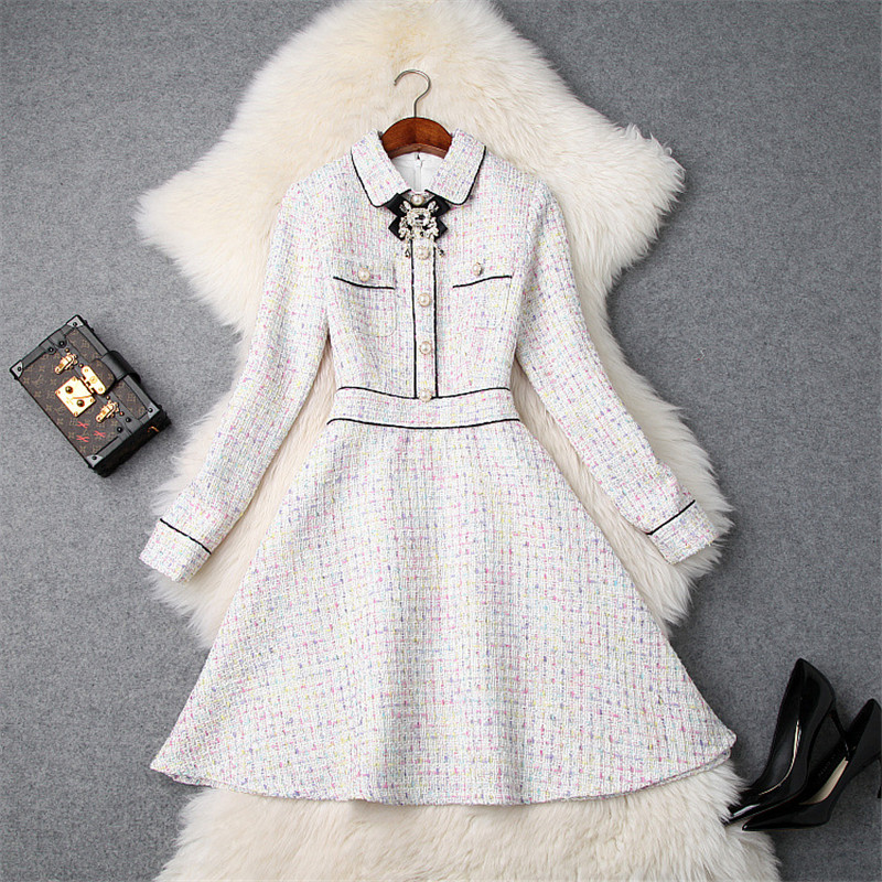 High Quality Runway Designer Winter Dress Women 2018 Long Sleeve Diamonds Bowknot Plaid Tweed Woolen Dress Elegant Casual Dress
