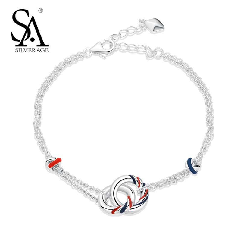 SA SILVERAGE Réel 925 Sterling Argent Europa Chaîne Bracelet Simple Tempérament Cadeau D'anniversaire Bracelets Pour Femme 2018 Nouveau
