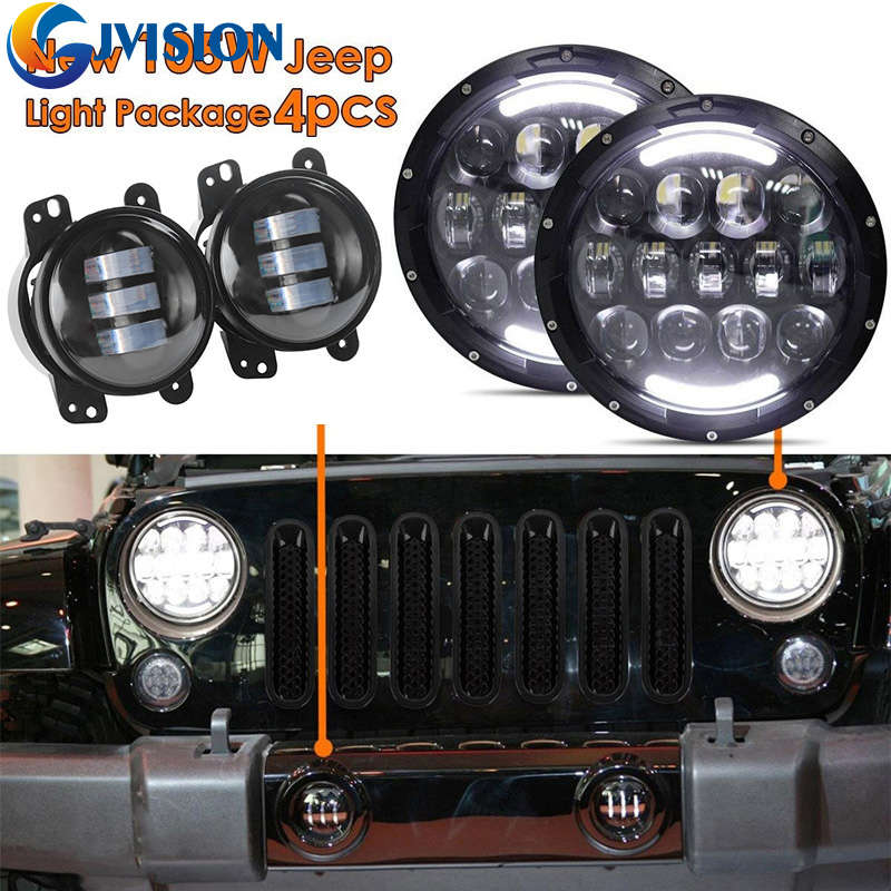 Wrangler Accessories 7 inch Black projector headlight Angel eyes + 1 Set 4'' 30W Front Bumper led fog light for Jeep JK Hummer set j40 black steel different trail front bumper w winch plate