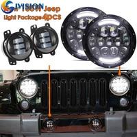 Wrangler Интимные аксессуары 7 дюймов черный проектор фар глаза ангела + 1 компл. 4 ''30 Вт передний бампер светодиодные противотуманные свет для Jeep