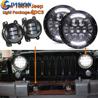 Wrangler Accessories 7 inch Black projector headlight Angel eyes + 1 Set 4'' 30W Front Bumper led fog light for Jeep JK Hummer