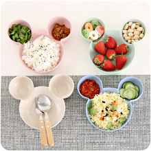 купить Carrywon Plate Children Kids Cute Cartoon Mouse Bowl Dishes Baby Feeding Bowl Dinner Lunch Food Container Lunch Box Camping недорого
