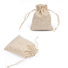 10pcs lot Flax Jute Burlap Bags with Gift Drawstring Bag,Jewelry Packaging Xmas Wedding Party Candy packing