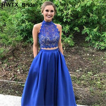Two Pieces Light Blue Bridesmaids Lace Wedding Party Dress