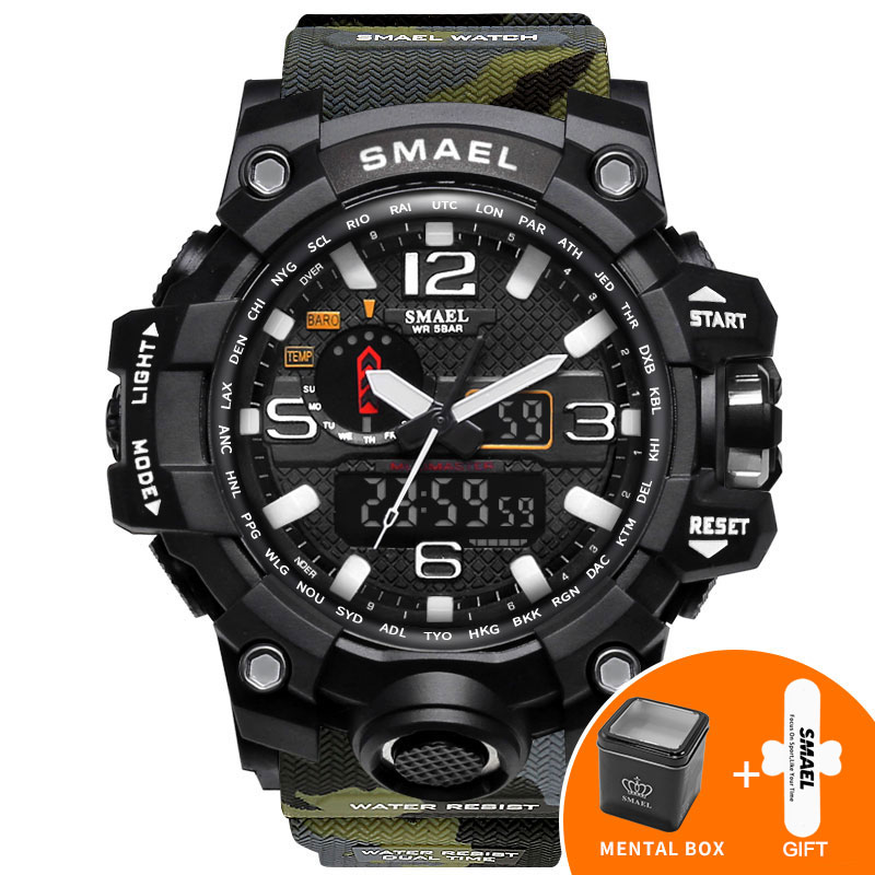 9ed03d5dc6ede Orange Camouflage Military Watches SMAEL Brand Watch Digital LED Wristwatch  Sport 1545B Mens Watch LuxuryClock Men Military Army-in Sports Watches from  ...