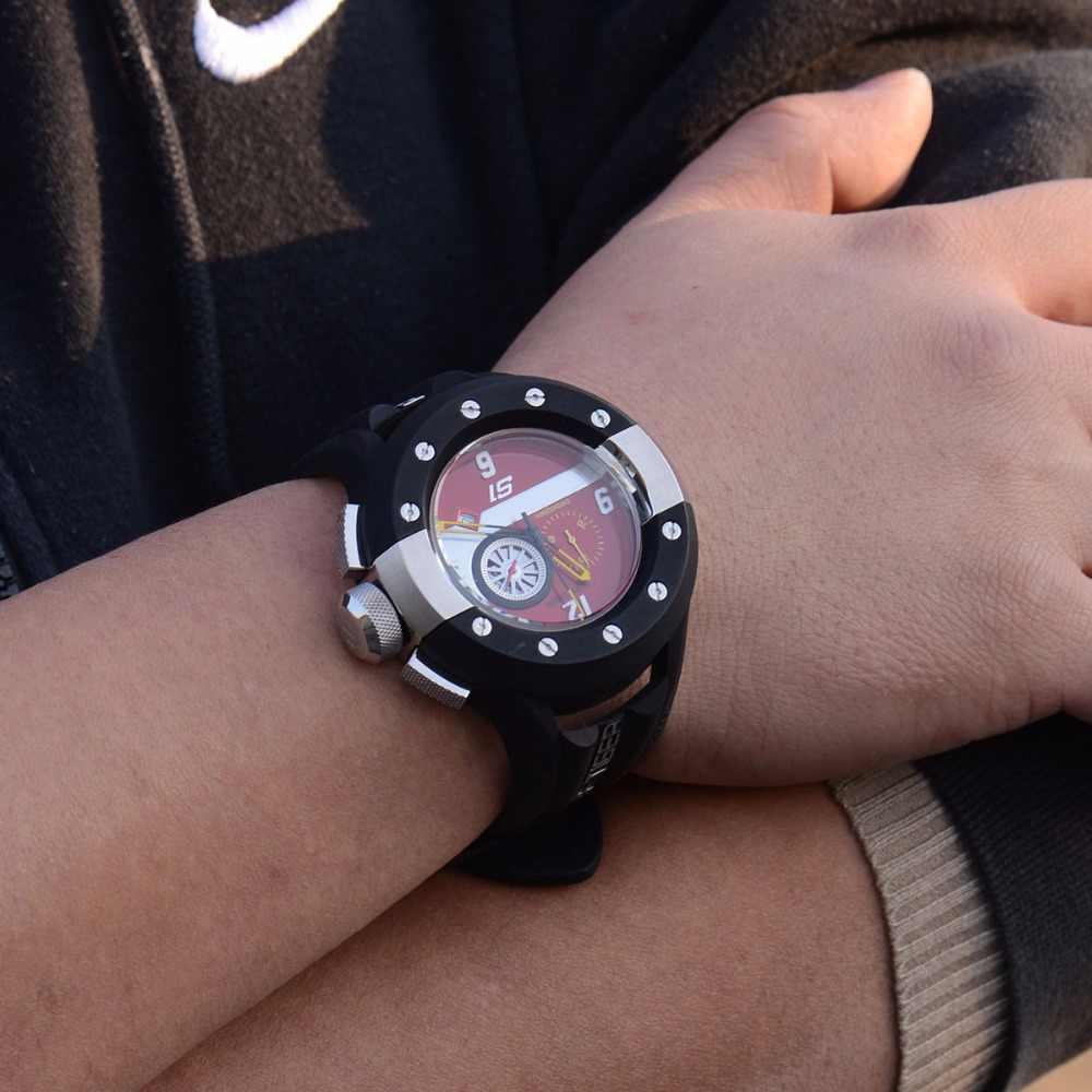 שונית טייגר/RT Mens אדום לוח המחוונים שעון קוורץ חיוג הכרונוגרף ספורט שעונים עם תאריך פלדת גומי להפסיק לצפות RGA3027