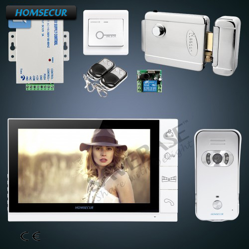 HOMSECUR 9 Wired Video&Audio Home Intercom+White Monitor+Silver Camera for Apartment ...