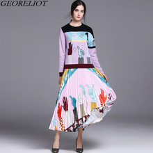 Runway Set 2017 New Women Two Piece Set Fashion Long Sleeve Print Knitted Sweater Pullovers + High Waist Long Maxi Skirts Suits
