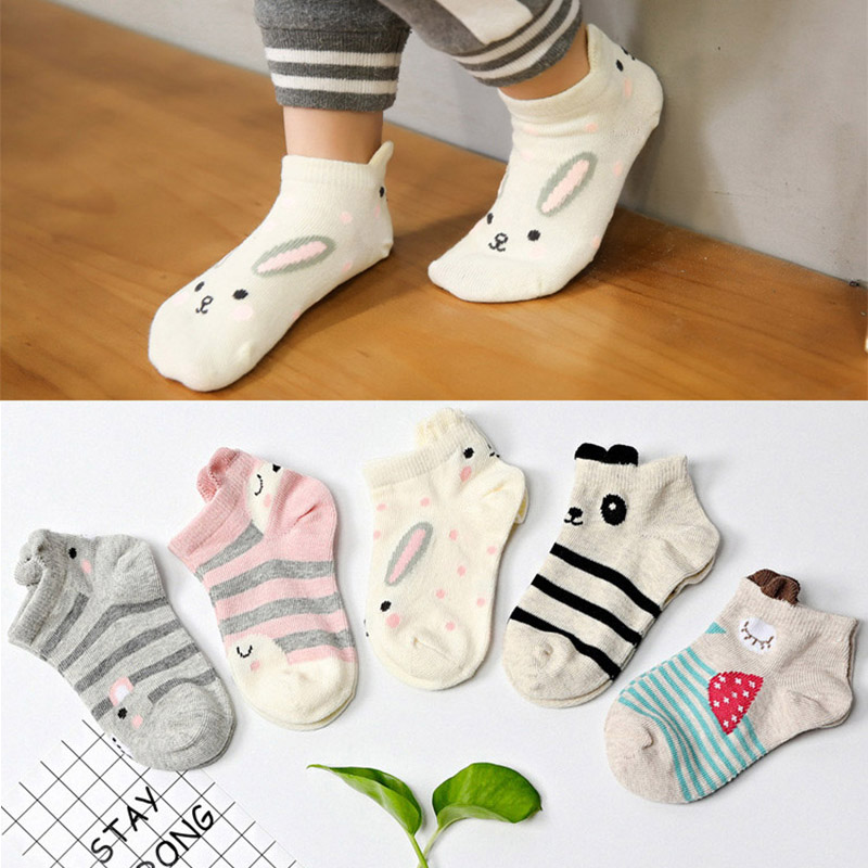 5 Pairs/Lot Kids Socks Funny Cartoon Animal Ears Short Socks Summer Cotton Boys Girls Ankle Socks