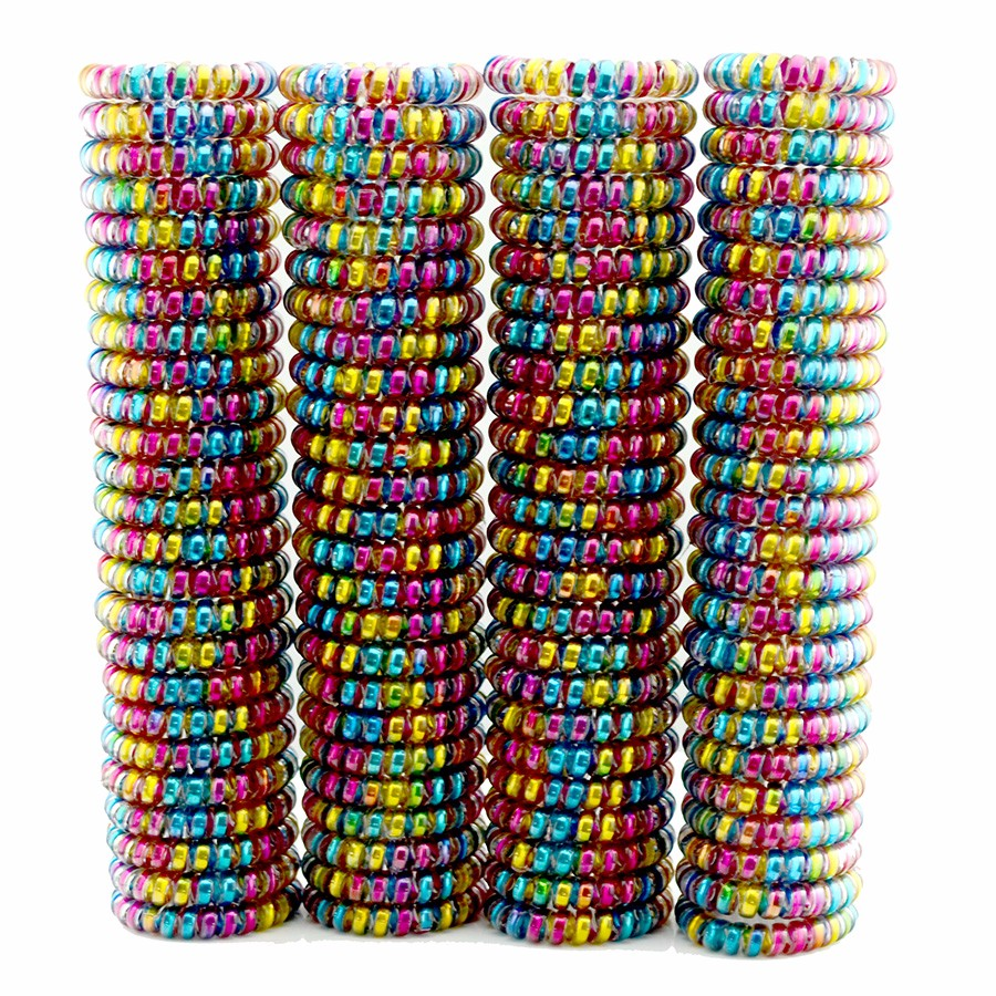 Lots 100 Pcs Women Girls Size 5 5 CM Colorful Hair Bands Elastic Rubber Telephone Wire