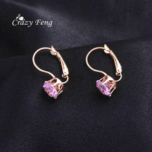 New 1PCS Women's Romantic Silver-color Red Blue White CZ Stone Pierced  Hoop Earrings Round Shape Small  Earring Jewelry Charms